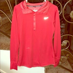 Beautiful Large light Nike hooded top red